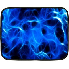 Blue Flame Light Black Double Sided Fleece Blanket (mini)  by Alisyart