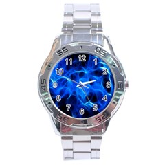 Blue Flame Light Black Stainless Steel Analogue Watch by Alisyart