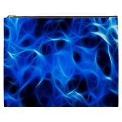 Blue Flame Light Black Cosmetic Bag (xxxl)  by Alisyart