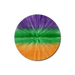 Mardi Gras Tie Die Rubber Round Coaster (4 Pack)  by PhotoNOLA
