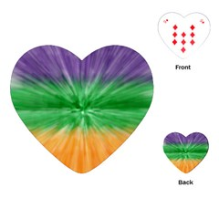 Mardi Gras Tie Die Playing Cards (heart)  by PhotoNOLA