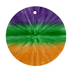 Mardi Gras Tie Die Round Ornament (two Sides) by PhotoNOLA
