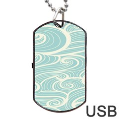 Blue Waves Dog Tag Usb Flash (one Side) by Alisyart