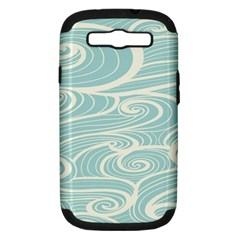 Blue Waves Samsung Galaxy S Iii Hardshell Case (pc+silicone) by Alisyart