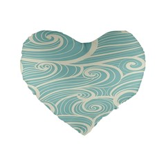 Blue Waves Standard 16  Premium Flano Heart Shape Cushions by Alisyart