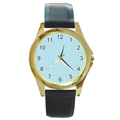 Circle Blue White Round Gold Metal Watch by Alisyart