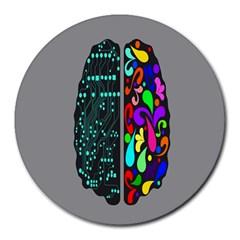 Emotional Rational Brain Round Mousepads by Alisyart