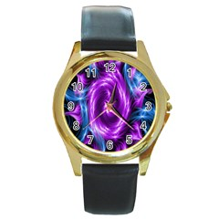 Colors Light Blue Purple Hole Space Galaxy Round Gold Metal Watch by Alisyart