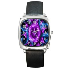 Colors Light Blue Purple Hole Space Galaxy Square Metal Watch by Alisyart