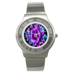 Colors Light Blue Purple Hole Space Galaxy Stainless Steel Watch by Alisyart