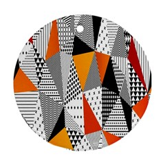 Contrast Hero Triangle Plaid Circle Wave Chevron Orange White Black Line Ornament (round) by Alisyart