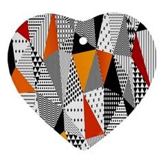 Contrast Hero Triangle Plaid Circle Wave Chevron Orange White Black Line Ornament (heart) by Alisyart