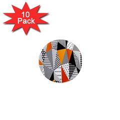 Contrast Hero Triangle Plaid Circle Wave Chevron Orange White Black Line 1  Mini Magnet (10 Pack)  by Alisyart