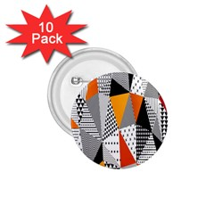 Contrast Hero Triangle Plaid Circle Wave Chevron Orange White Black Line 1 75  Buttons (10 Pack) by Alisyart