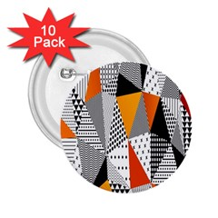 Contrast Hero Triangle Plaid Circle Wave Chevron Orange White Black Line 2 25  Buttons (10 Pack)  by Alisyart
