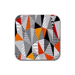 Contrast Hero Triangle Plaid Circle Wave Chevron Orange White Black Line Rubber Square Coaster (4 Pack)  by Alisyart