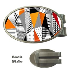 Contrast Hero Triangle Plaid Circle Wave Chevron Orange White Black Line Money Clips (oval)  by Alisyart