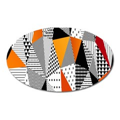 Contrast Hero Triangle Plaid Circle Wave Chevron Orange White Black Line Oval Magnet by Alisyart