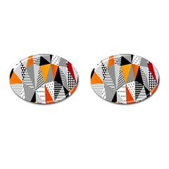 Contrast Hero Triangle Plaid Circle Wave Chevron Orange White Black Line Cufflinks (oval) by Alisyart