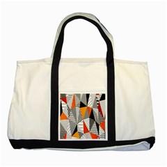 Contrast Hero Triangle Plaid Circle Wave Chevron Orange White Black Line Two Tone Tote Bag by Alisyart