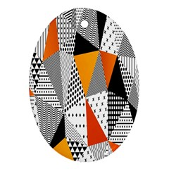 Contrast Hero Triangle Plaid Circle Wave Chevron Orange White Black Line Oval Ornament (two Sides) by Alisyart