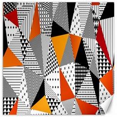 Contrast Hero Triangle Plaid Circle Wave Chevron Orange White Black Line Canvas 16  X 16   by Alisyart