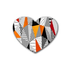 Contrast Hero Triangle Plaid Circle Wave Chevron Orange White Black Line Rubber Coaster (heart)  by Alisyart