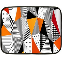 Contrast Hero Triangle Plaid Circle Wave Chevron Orange White Black Line Double Sided Fleece Blanket (mini)  by Alisyart