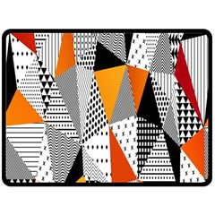 Contrast Hero Triangle Plaid Circle Wave Chevron Orange White Black Line Fleece Blanket (large)  by Alisyart