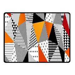 Contrast Hero Triangle Plaid Circle Wave Chevron Orange White Black Line Fleece Blanket (small) by Alisyart