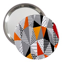 Contrast Hero Triangle Plaid Circle Wave Chevron Orange White Black Line 3  Handbag Mirrors by Alisyart