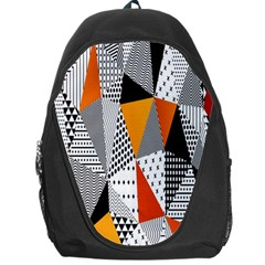 Contrast Hero Triangle Plaid Circle Wave Chevron Orange White Black Line Backpack Bag by Alisyart