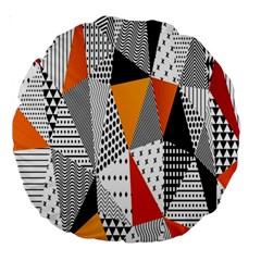 Contrast Hero Triangle Plaid Circle Wave Chevron Orange White Black Line Large 18  Premium Round Cushions by Alisyart