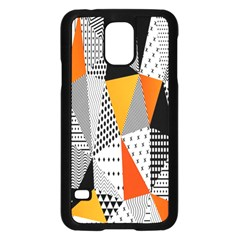 Contrast Hero Triangle Plaid Circle Wave Chevron Orange White Black Line Samsung Galaxy S5 Case (black) by Alisyart