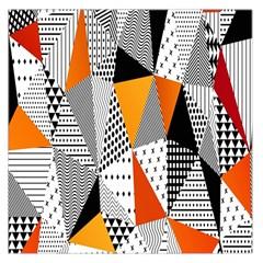 Contrast Hero Triangle Plaid Circle Wave Chevron Orange White Black Line Large Satin Scarf (square) by Alisyart