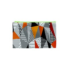 Contrast Hero Triangle Plaid Circle Wave Chevron Orange White Black Line Cosmetic Bag (xs) by Alisyart