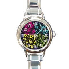 Circle Ring Color Purple Pink Yellow Blue Round Italian Charm Watch