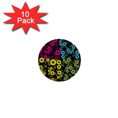 Circle Ring Color Purple Pink Yellow Blue 1  Mini Buttons (10 Pack)  by Alisyart