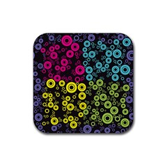 Circle Ring Color Purple Pink Yellow Blue Rubber Square Coaster (4 Pack)  by Alisyart