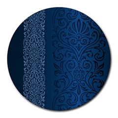 Fabric Blue Batik Round Mousepads by Alisyart