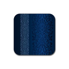 Fabric Blue Batik Rubber Square Coaster (4 Pack)  by Alisyart