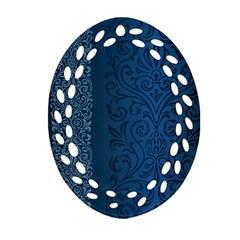 Fabric Blue Batik Oval Filigree Ornament (two Sides) by Alisyart