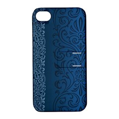 Fabric Blue Batik Apple Iphone 4/4s Hardshell Case With Stand by Alisyart