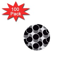 Floral Geometric Circle Black White Hole 1  Mini Buttons (100 Pack)  by Alisyart
