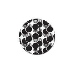 Floral Geometric Circle Black White Hole Golf Ball Marker (4 Pack) by Alisyart