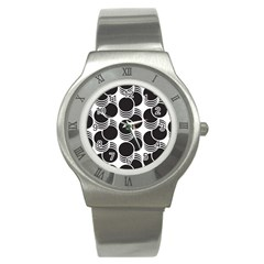 Floral Geometric Circle Black White Hole Stainless Steel Watch by Alisyart