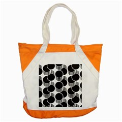 Floral Geometric Circle Black White Hole Accent Tote Bag by Alisyart