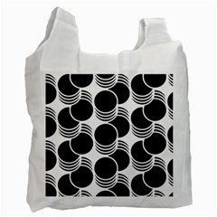 Floral Geometric Circle Black White Hole Recycle Bag (one Side) by Alisyart