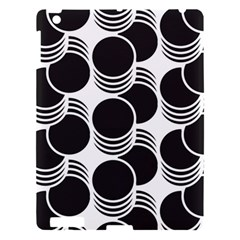 Floral Geometric Circle Black White Hole Apple Ipad 3/4 Hardshell Case by Alisyart