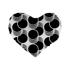Floral Geometric Circle Black White Hole Standard 16  Premium Heart Shape Cushions by Alisyart